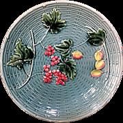 "1907-28 9"" Majolica Plate Zell Germany Georg Schnider"