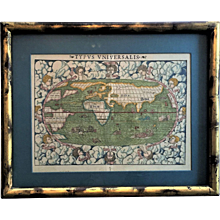 Rare c.1552 Ptolemy World Map Henricus Petri SPECTACULAR