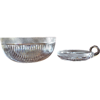 c.1900 Dorflinger Bowl Nappy Mitre and Silver Diamond  Cut Glass