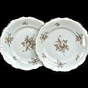 "Two 1940's 6 1/4"" Haviland Dessert Plate Gold SEPIA ROSE"