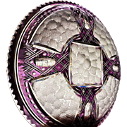 Thomas Webb  FOUR Plate  1936-1949 Amethyst Cut to Clear  SIGNED
