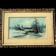 Harold Morse Ward PASTEL Cabin by the Lake 1889-1973 Original Frame