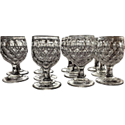 Rare 1870's  EAPG Honeycomb Goblet Four Row Pattern Set-Eleven Glasses