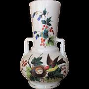 """12""""x7"""" Opaline Bristol Glass Vase Bird Nest Eggs 19th c."""