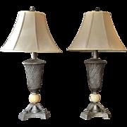 DALE TIFFANY Pair Lamp with Shade c.1979 Retro