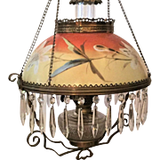 Victorian  Hanging Lamp  Hand Painted  Cut Prisms 1880's