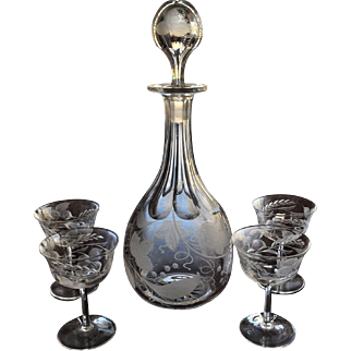 c.1870's  Cut Decanter ENGRAVED Wine Sherry Cordial Set