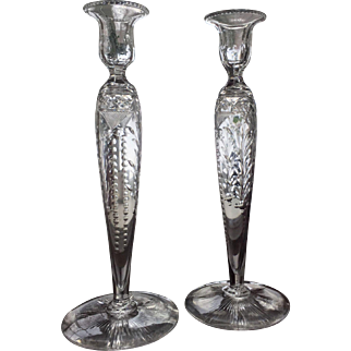 c.1910 Pairpoint Candlesticks Cut Glass Engraved