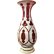 19th c. Bohemian Vase White Overlay Cut to Cranberry