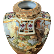 Meiji Nippon Vase 1876-1910 Raised Gold Beading 22k