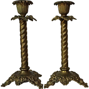 Pair 19th c. Brass Candlesticks Rope Palm Pattern