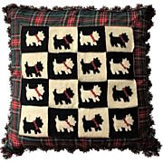 "RARE Retired 22"" Mackenzie Childs Pillow Scottish Terrier Dog"