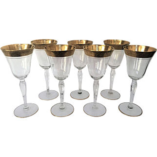 """7"""" Tiffin  Vintage  Tall Wine Glass  Gold Encrusted"""