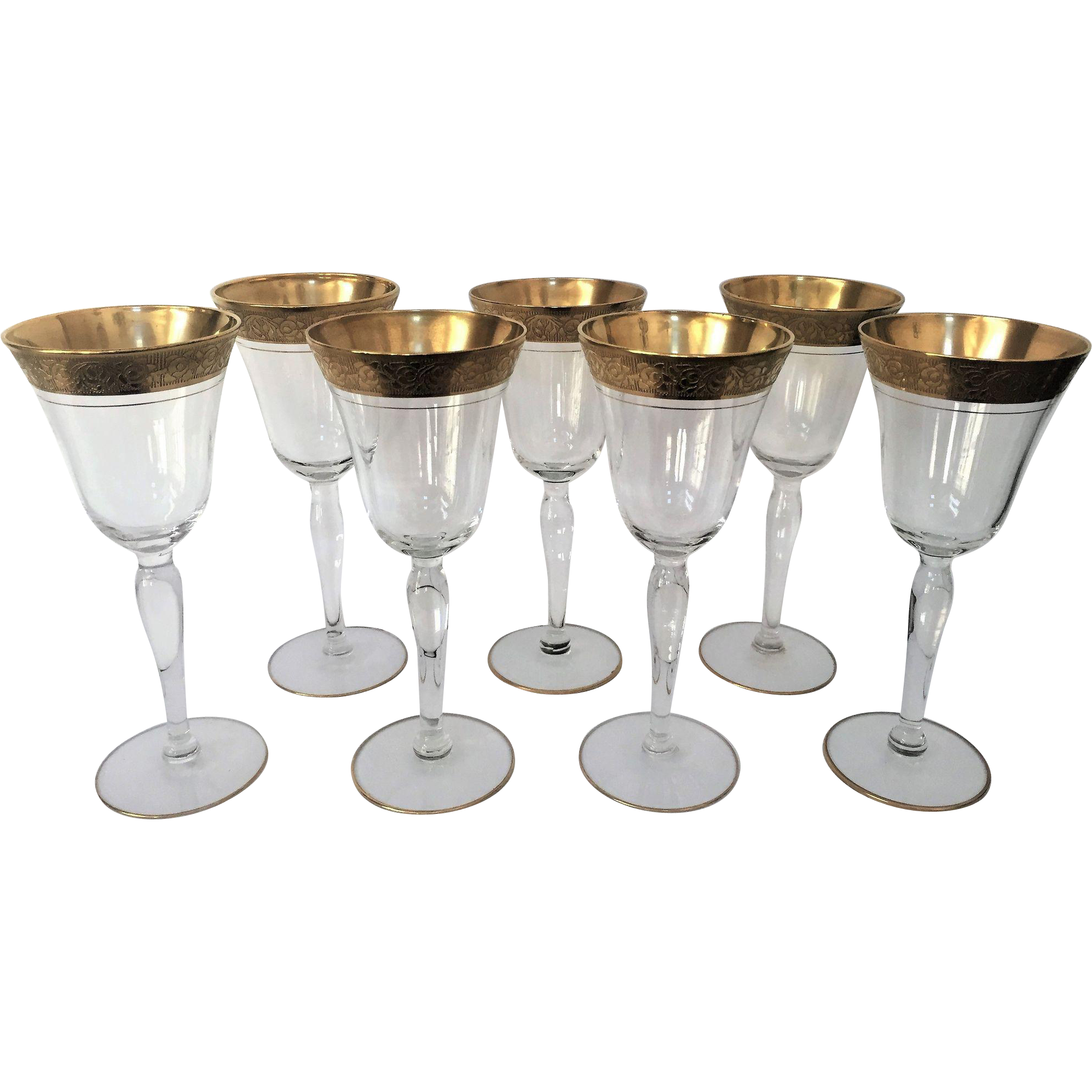 7 tiffin vintage tall wine glass gold encrusted from for Thin stem wine glasses