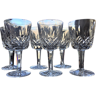 """4 1/4"""" Waterford Port Wine Cut Glass Ireland Signed SET-6"""