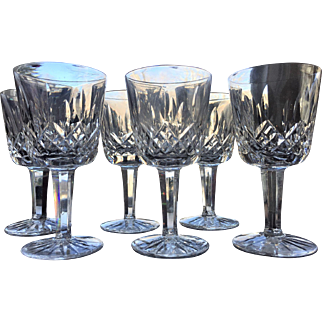 """3 1/2"""" Waterford Liqueur Cocktail Cordial  Cut Glass Ireland Signed SET-6"""