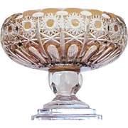7 lbs. STUNNING Bohemian Compote Bowl Crystal Cut Glass Vintage