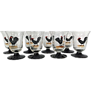 Eight OYSTER SHOOTER Dorflinger Honesdale Hand Painted Rooster