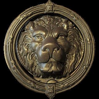 Large Victorian Brass Figural Lions Head Door Knocker 9 lbs