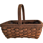 Early Black Ash Woven Splint Basket c.1900