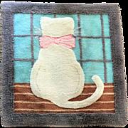 Vintage Virgin Wool Hand Hooked Rug Cat Kitten