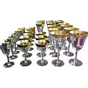 31 PIECES  Tiffin Stemware Gold Encrusted Wide Variety