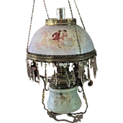 Victorian Hanging Lamp Oil Kerosene Prisms 1880's Hand Painted