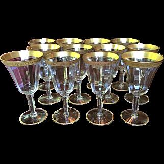 "Set-12 Tiffin Red Wine  Water Goblets 6 1/2"" x 3 3/8"""
