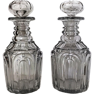 1825-35 Bakewell Pittsburgh Free Blown Cut Decanter ARCH PATTERN