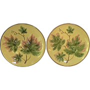 """TWO c.1910 Majolica 11 1/4"""" Charger Germany Zell"""