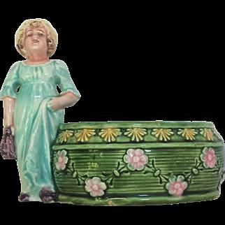 French Majolica Girl Planter c.1900's Vase