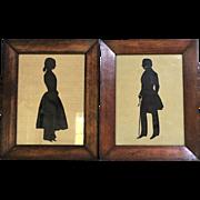 "PAIR Victorian Silhouette Portrait Hand Cut Paper 12 1/2"" x  10"" England"