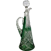 "RARE 1896-1906 13"" Libbey Decanter Harvard Pattern Green Cut to Clear"