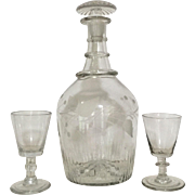 c. 1810 Georgian Three Ring Decanter w/ Glasses  Engraved Anglo Irish