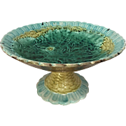 Majolica Compote Basketweave Begonia Leaf Early 1900's