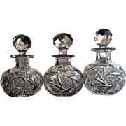 1890-1910 Cut Glass Cologne Perfume Bottle SET-3