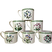 RARE 16 oz 1980's  Portmeirion Botanic Garden Mug Drum Made in England Set of Six