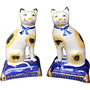 c.1840's Pair English Staffordshire Cat Blue Gold Pillows