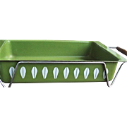 c.1970 Cathrineholm Lasagna Pan w/ Holder Green Lotus Enamelware