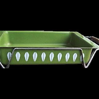 c.1970 Cathrineholm Lasagna Pan w/ Holder Green Lotus Enamelware