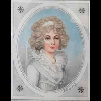 SIGNED Stipple Engraving L. Dupont Miniature Portrait The Marchioness of Salisbury c.1800's