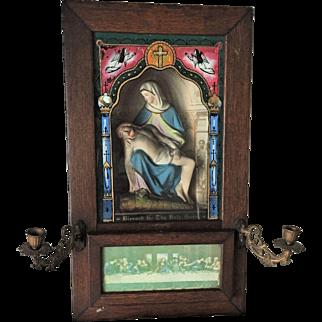 CANDELABRA Victorian Religious Pieta Shadow Box Jesus Mary Michelangelo