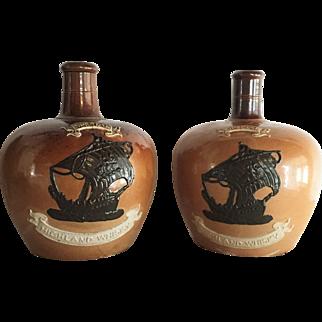 TWO Royal Doulton Lambert Jug Highland Whiskey c.1900