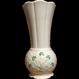 c.1993 Blue Mark Belleek Vase Listowel Shamrock ORIGINAL LABEL