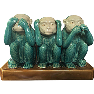 "12""x 9"" 1960's Ceramic Monkey Statue See No Evil"