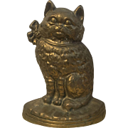 Cat Doorstop Brass Kitten  VINTAGE