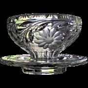 DORFLINGER Mayonnaise / Underplate Cut Glass  c.1910  American Brilliant  Serving Bowl