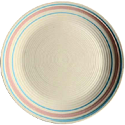 """RARE 12"""" McCoy Nelson Chop Plate Platter Charger  Pink and Blue 1930's"""