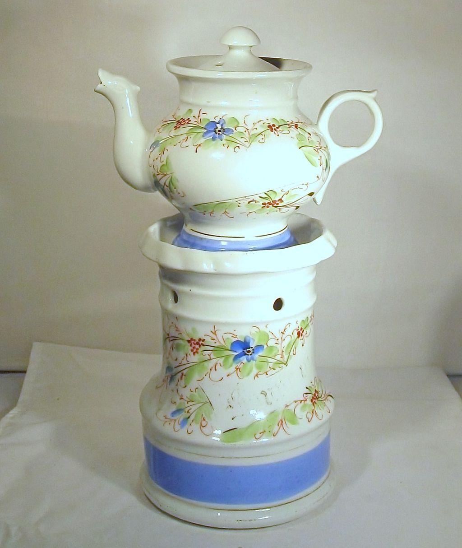 French  Porcelain  VEILLEUSE  Hand Painted   Teapot   C.1860  ANIMAL SPOUT