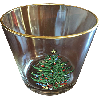 VERY RARE Spode Christmas Tree Gold Trim Ice Bucket c.1970 Champagne Cooler  Wine Cooler